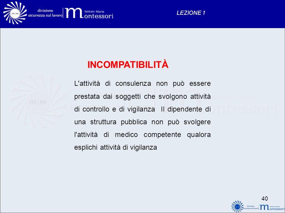 40 LEZIONE 1 INCOMPATIBILITÀ L'attività di consulenza non può essere prestata dai soggetti che svolgono attività di controllo e di vigilanza Il dipend