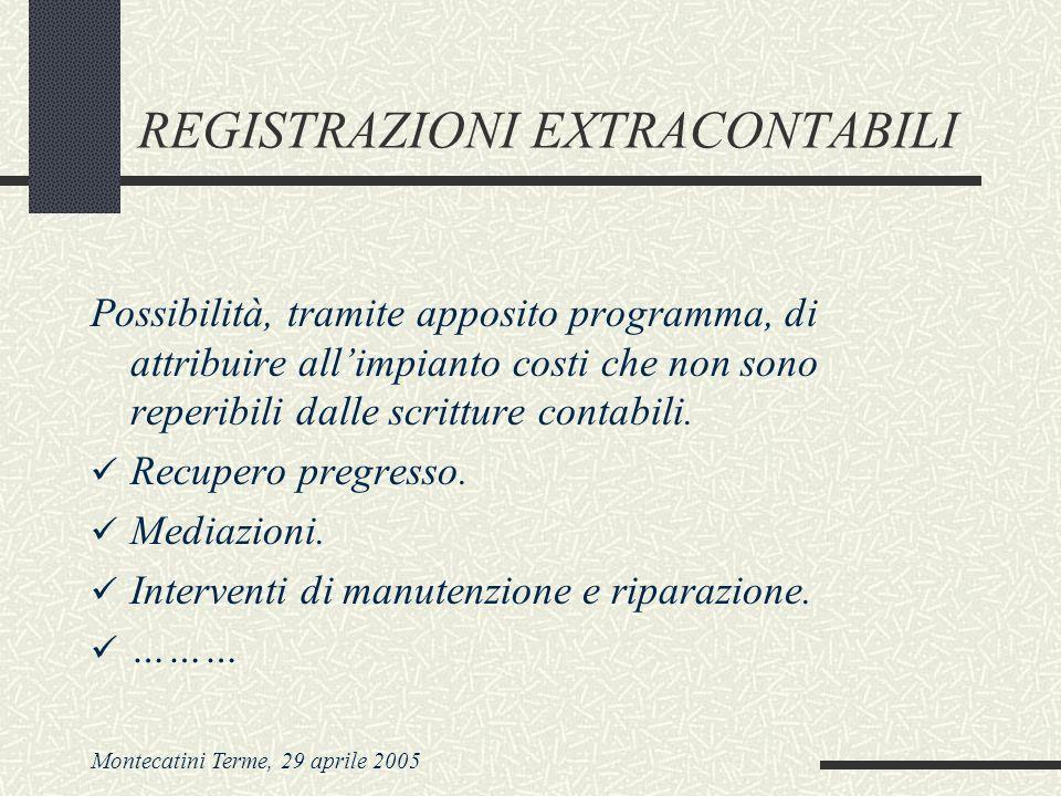 Montecatini Terme, 29 aprile 2005 REGISTRAZIONI EXTRACONTABILI Possibilità, tramite apposito programma, di attribuire allimpianto costi che non sono reperibili dalle scritture contabili.