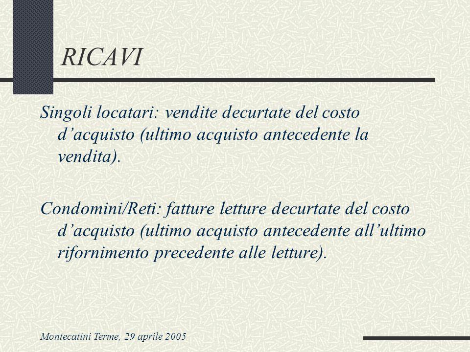 Montecatini Terme, 29 aprile 2005 RICAVI Singoli locatari: vendite decurtate del costo dacquisto (ultimo acquisto antecedente la vendita). Condomini/R