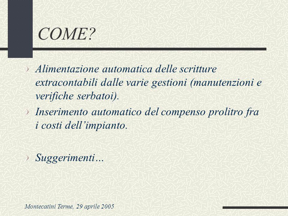 Montecatini Terme, 29 aprile 2005 COME? Alimentazione automatica delle scritture extracontabili dalle varie gestioni (manutenzioni e verifiche serbato