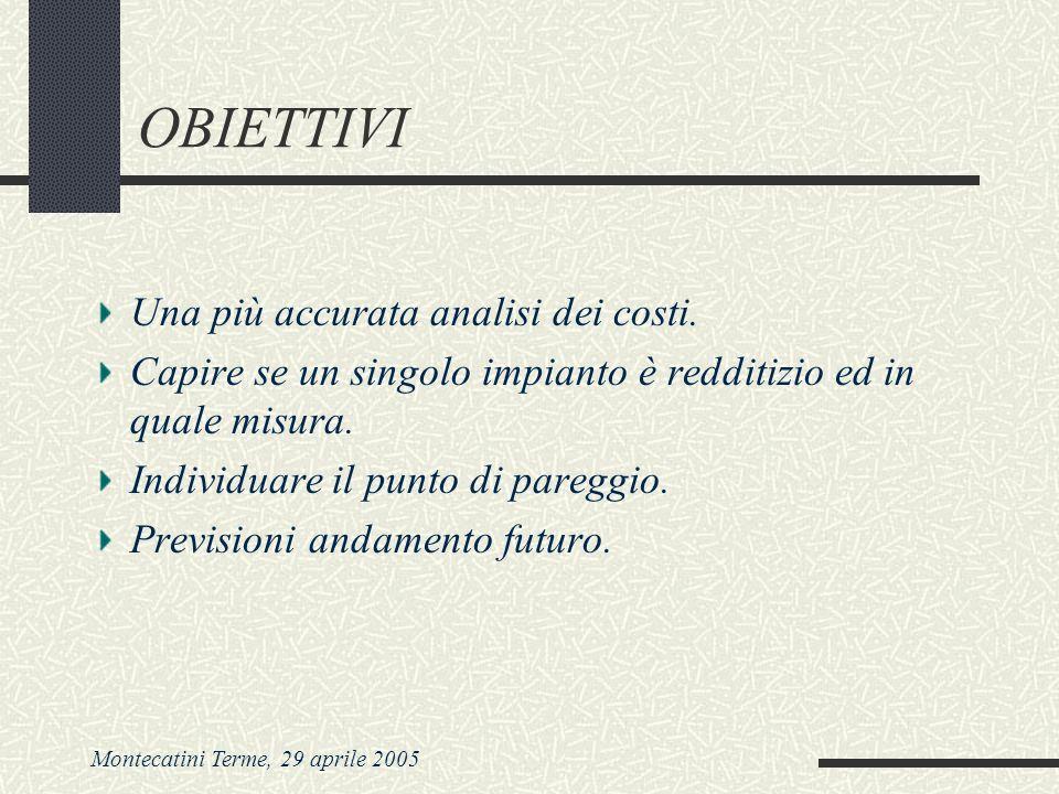 Montecatini Terme, 29 aprile 2005 OBIETTIVI Una più accurata analisi dei costi. Capire se un singolo impianto è redditizio ed in quale misura. Individ