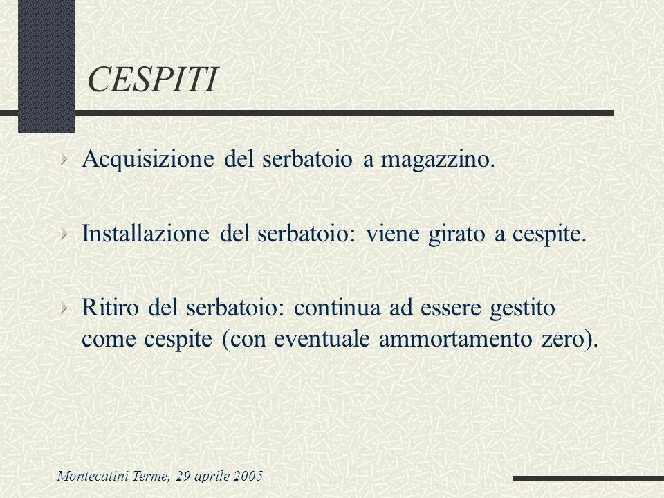 Montecatini Terme, 29 aprile 2005 CESPITI Acquisizione del serbatoio a magazzino. Installazione del serbatoio: viene girato a cespite. Ritiro del serb