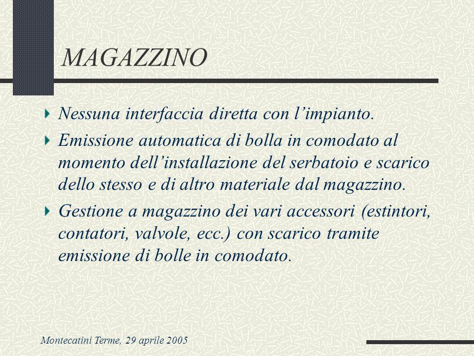 Montecatini Terme, 29 aprile 2005 MAGAZZINO Nessuna interfaccia diretta con limpianto. Emissione automatica di bolla in comodato al momento dellinstal