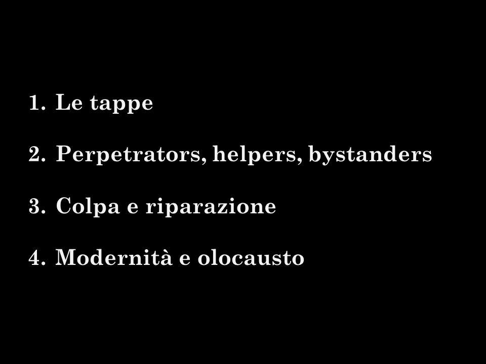 1.Le tappe 2.Perpetrators, helpers, bystanders 3.Colpa e riparazione 4.Modernità e olocausto