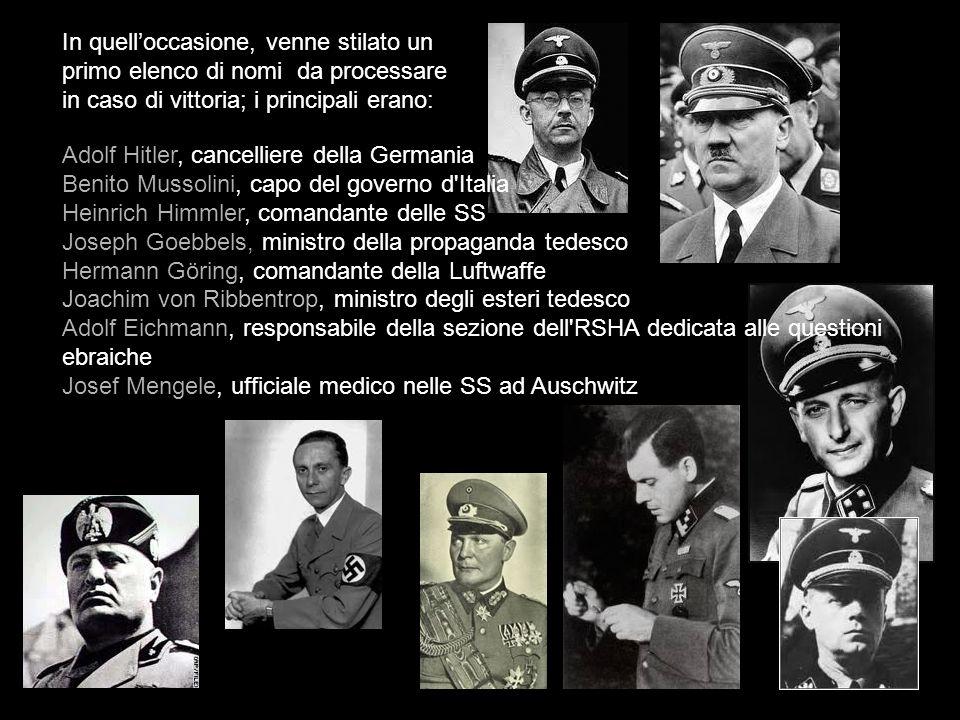 In quelloccasione, venne stilato un primo elenco di nomi da processare in caso di vittoria; i principali erano: Adolf Hitler, cancelliere della German