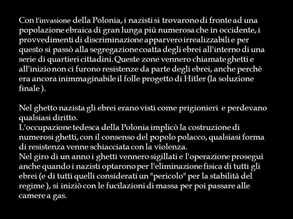 I ghetti europei, soprattutto nellEuropa orientale, diventarono durante la II guerra mondiale dei veri i propri campi di concentramento dove le persone morivano di fame, malattia e stenti, poiché non potevano più lavorare e procurarsi denaro per il cibo e vivevano in 10-12 persona per stanza, come nel ghetto di Varsavia Rastrellamento nel ghetto di Varsavia