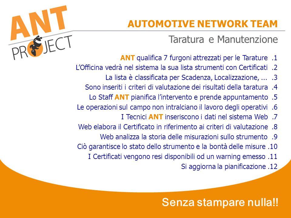 AUTOMOTIVE NETWORK TEAM ANT qualifica 7 furgoni attrezzati per le Tarature.1 LOfficina vedrà nel sistema la sua lista strumenti con Certificati.2 La l