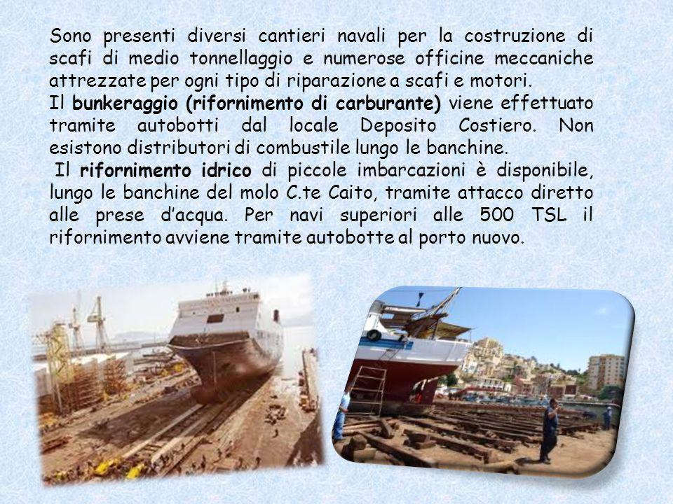 Sono presenti diversi cantieri navali per la costruzione di scafi di medio tonnellaggio e numerose officine meccaniche attrezzate per ogni tipo di riparazione a scafi e motori.