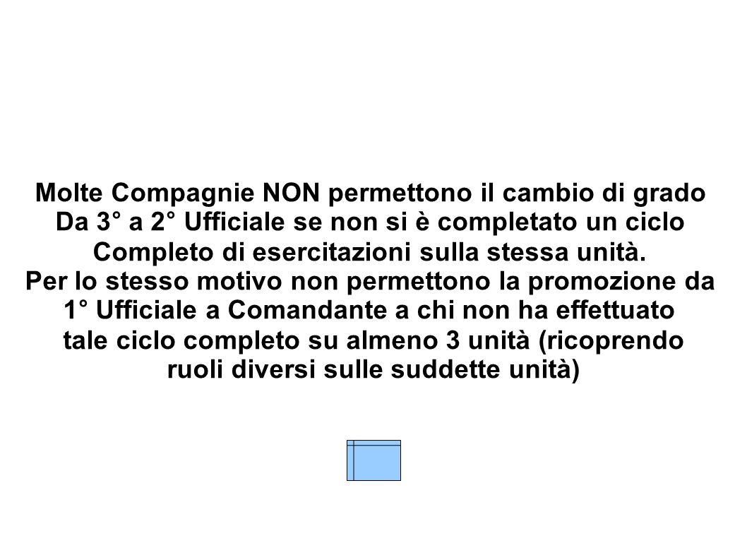 Molte Compagnie NON permettono il cambio di grado Da 3° a 2° Ufficiale se non si è completato un ciclo Completo di esercitazioni sulla stessa unità. P