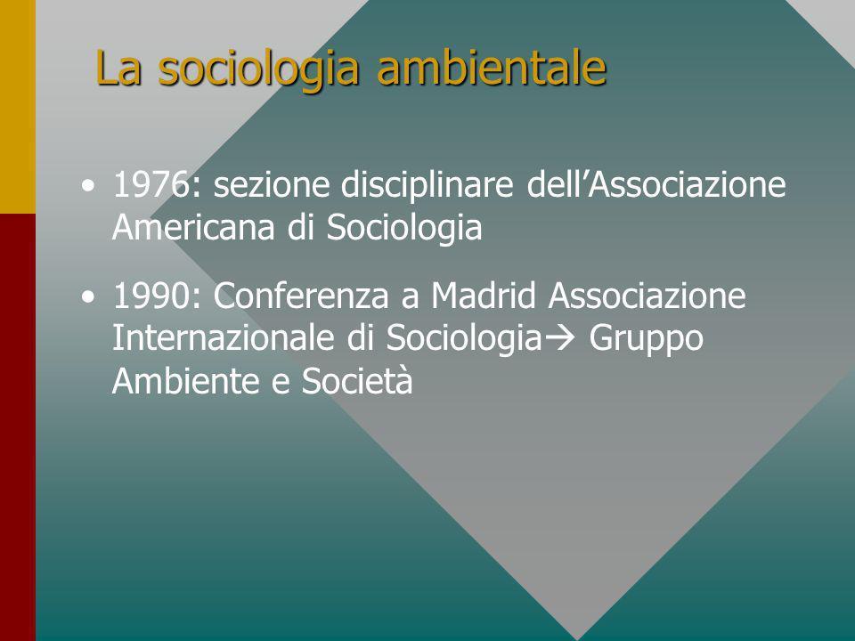 La sociologia ambientale 1976: sezione disciplinare dellAssociazione Americana di Sociologia 1990: Conferenza a Madrid Associazione Internazionale di Sociologia Gruppo Ambiente e Società