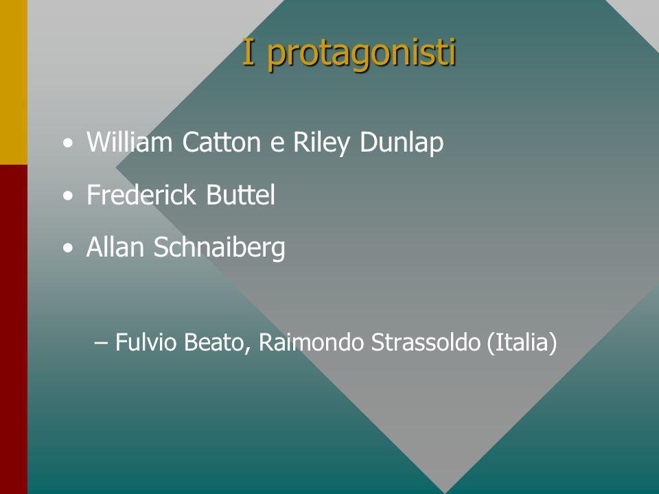 I protagonisti William Catton e Riley Dunlap Frederick Buttel Allan Schnaiberg – –Fulvio Beato, Raimondo Strassoldo (Italia)