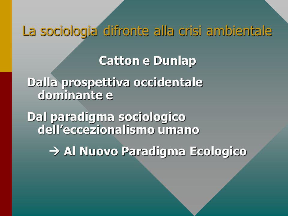 La sociologia difronte alla crisi ambientale Catton e Dunlap Dalla prospettiva occidentale dominante e Dal paradigma sociologico delleccezionalismo umano Al Nuovo Paradigma Ecologico Al Nuovo Paradigma Ecologico