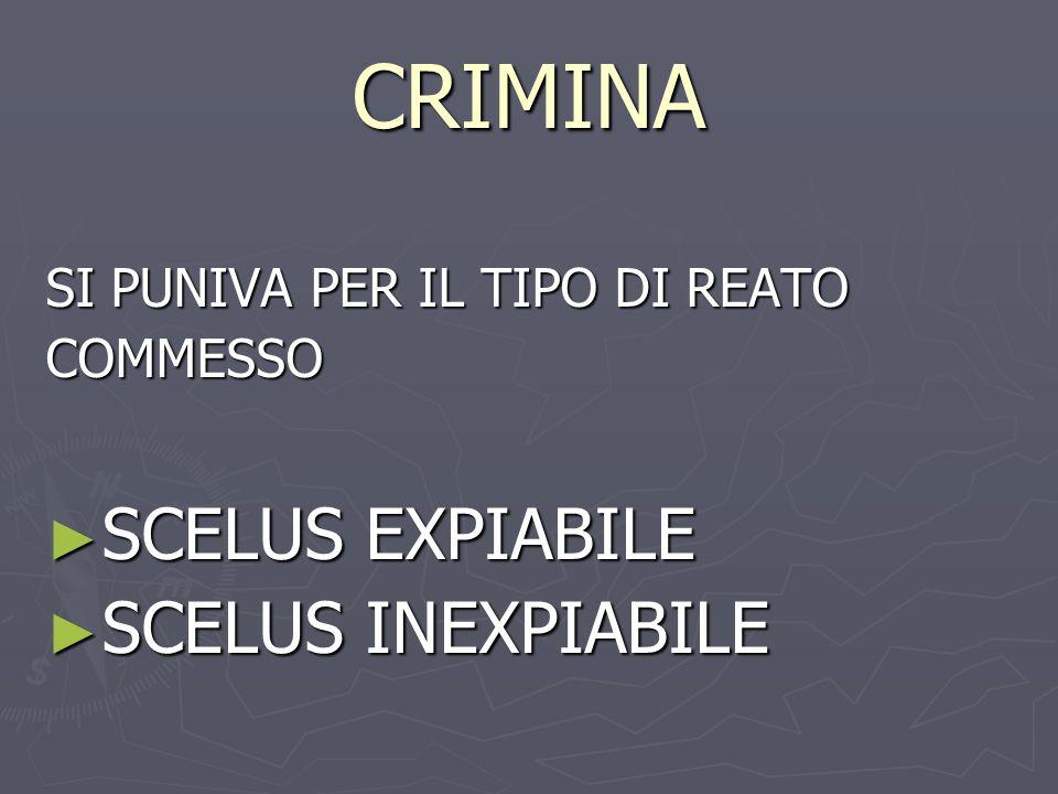 CRIMINA SI PUNIVA PER IL TIPO DI REATO COMMESSO SCELUS EXPIABILE SCELUS EXPIABILE SCELUS INEXPIABILE SCELUS INEXPIABILE