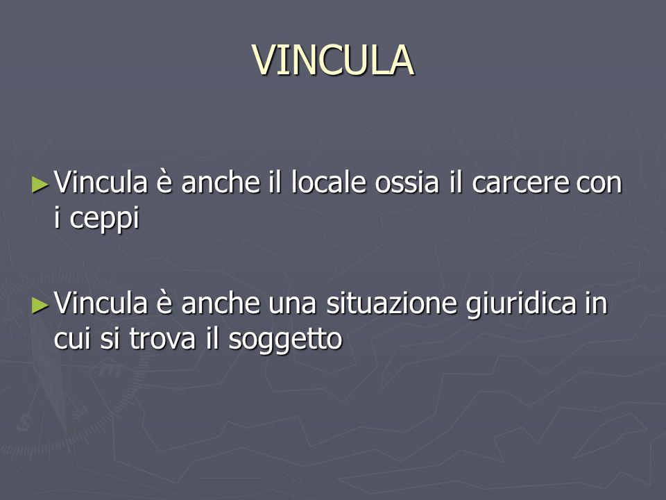 VINCULA Vincula è anche il locale ossia il carcere con i ceppi Vincula è anche il locale ossia il carcere con i ceppi Vincula è anche una situazione g