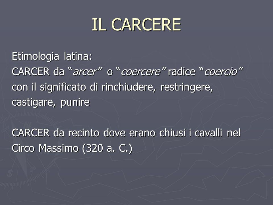 IL CARCERE Etimologia latina: CARCER da arcer o coercere radice coercio con il significato di rinchiudere, restringere, castigare, punire CARCER da re