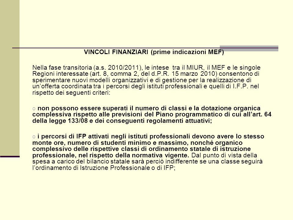VINCOLI FINANZIARI (prime indicazioni MEF) Nella fase transitoria (a.s.