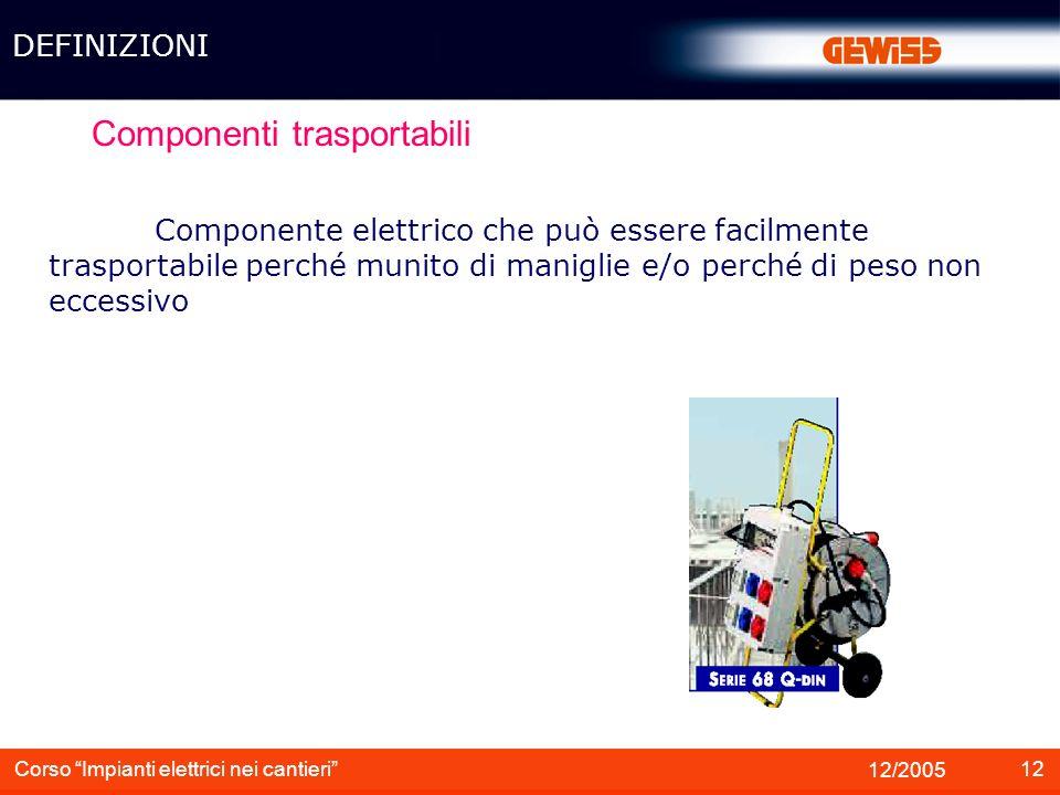 12 12/2005 Corso Impianti elettrici nei cantieri Componenti trasportabili Componente elettrico che può essere facilmente trasportabile perché munito d