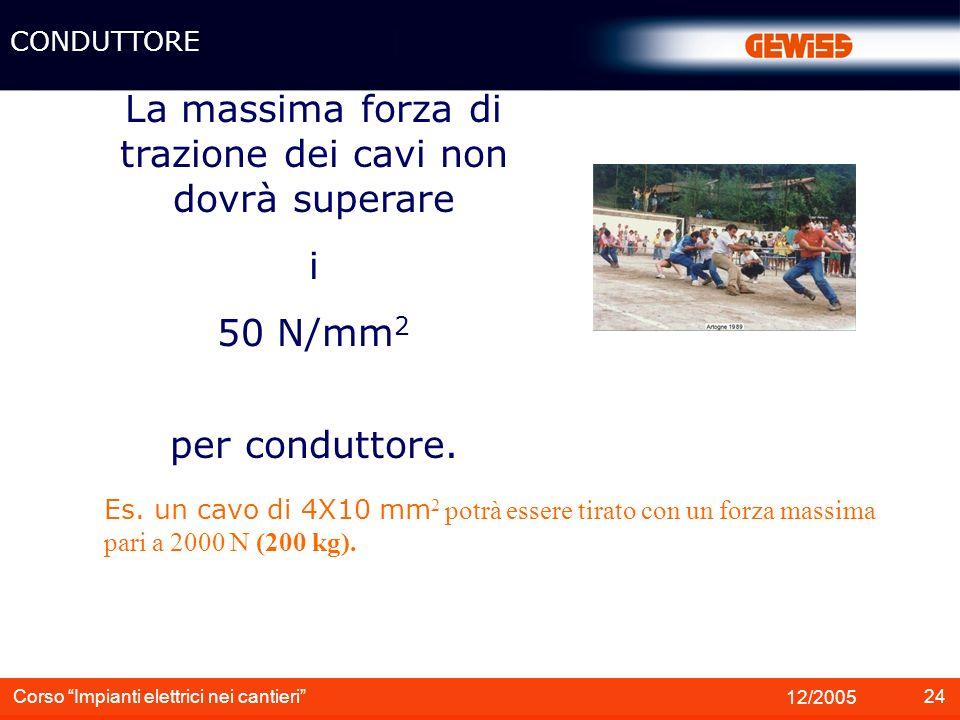24 12/2005 Corso Impianti elettrici nei cantieri La massima forza di trazione dei cavi non dovrà superare i 50 N/mm 2 per conduttore. CONDUTTORE Es. u