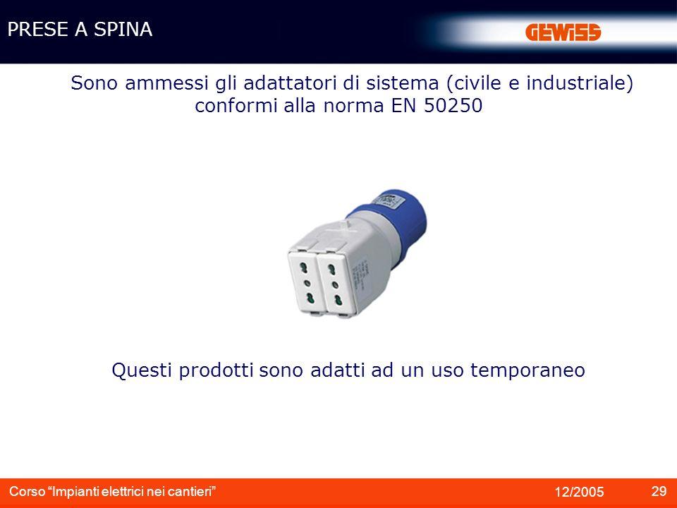 29 12/2005 Corso Impianti elettrici nei cantieri Sono ammessi gli adattatori di sistema (civile e industriale) conformi alla norma EN 50250 PRESE A SP