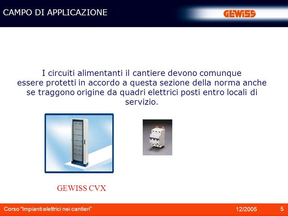 5 12/2005 Corso Impianti elettrici nei cantieri CAMPO DI APPLICAZIONE I circuiti alimentanti il cantiere devono comunque essere protetti in accordo a