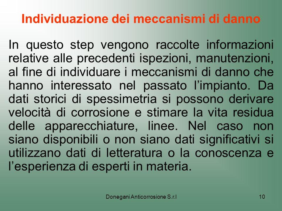 Donegani Anticorrosione S.r.l10 Individuazione dei meccanismi di danno In questo step vengono raccolte informazioni relative alle precedenti ispezioni
