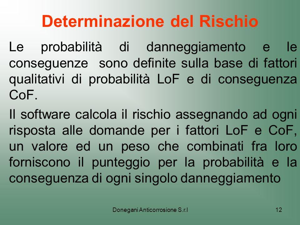 Donegani Anticorrosione S.r.l12 Determinazione del Rischio Le probabilità di danneggiamento e le conseguenze sono definite sulla base di fattori quali