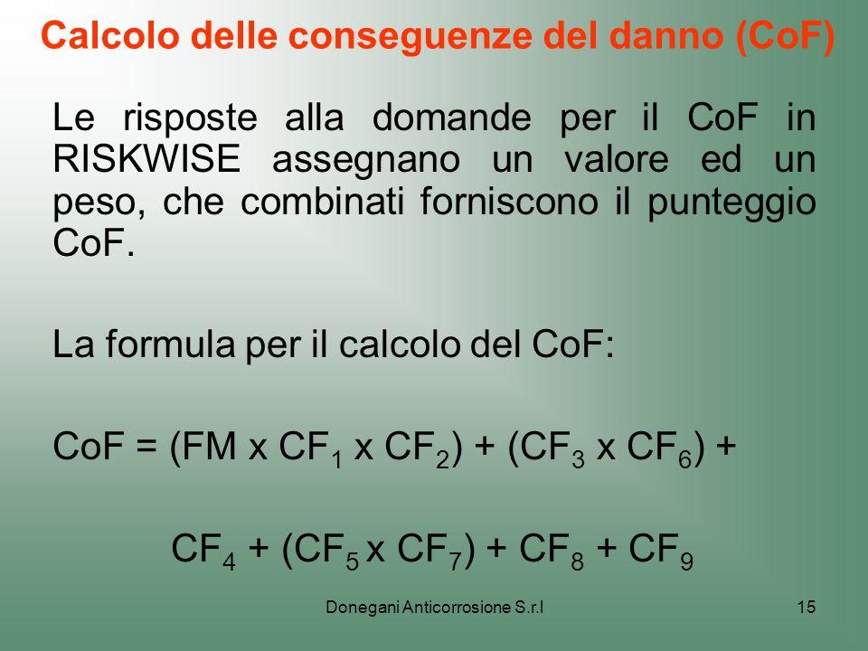 Donegani Anticorrosione S.r.l15 Calcolo delle conseguenze del danno (CoF) Le risposte alla domande per il CoF in RISKWISE assegnano un valore ed un pe