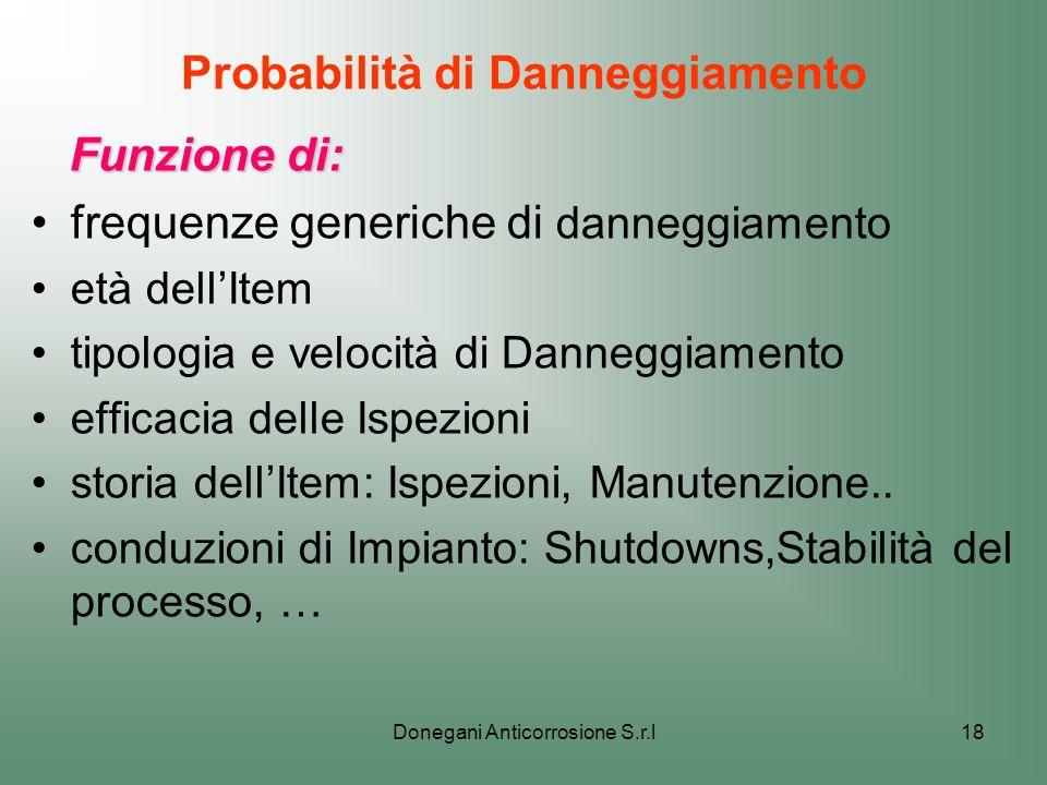 Donegani Anticorrosione S.r.l18 Probabilità di Danneggiamento Funzione di: Funzione di: frequenze generiche di danneggiamento età dellItem tipologia e