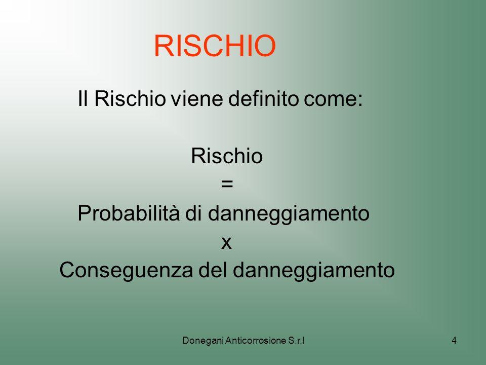 Donegani Anticorrosione S.r.l4 RISCHIO Il Rischio viene definito come: Rischio = Probabilità di danneggiamento x Conseguenza del danneggiamento