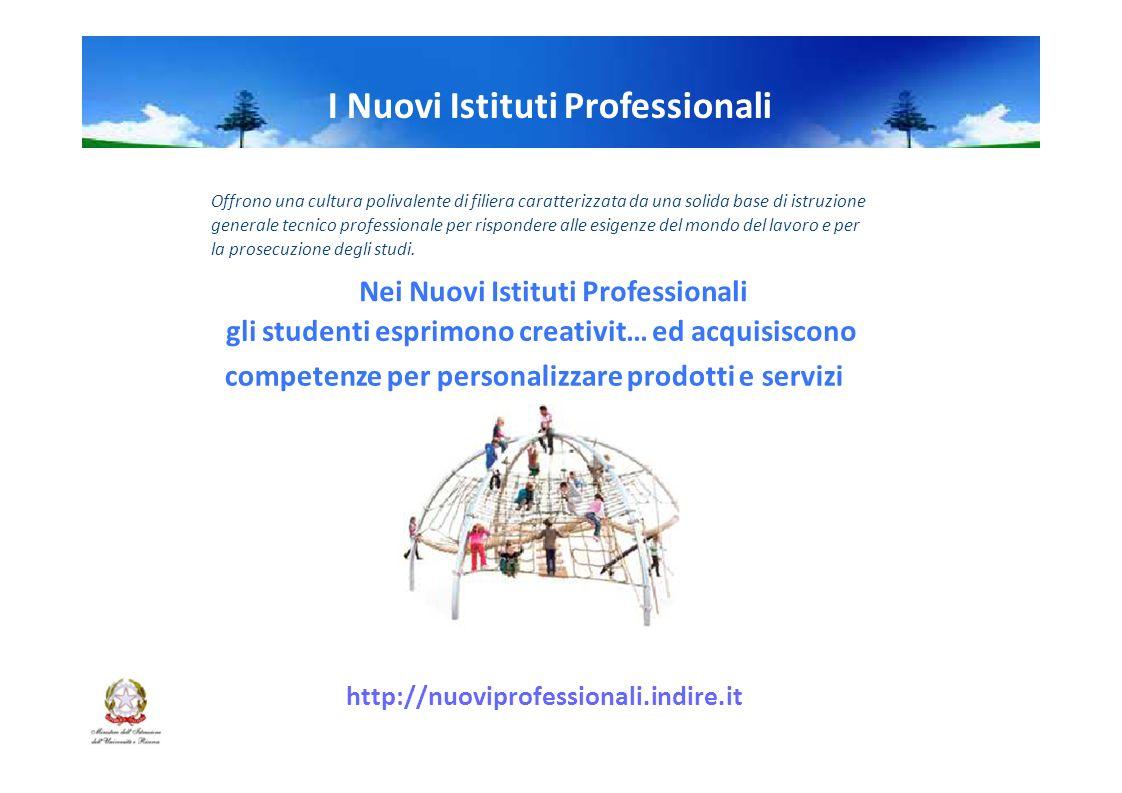 I Nuovi Istituti Professionali Offrono una cultura polivalente di filiera caratterizzata da una solida base di istruzione generale tecnico professionale per rispondere alle esigenze del mondo del lavoro e per la prosecuzione degli studi.