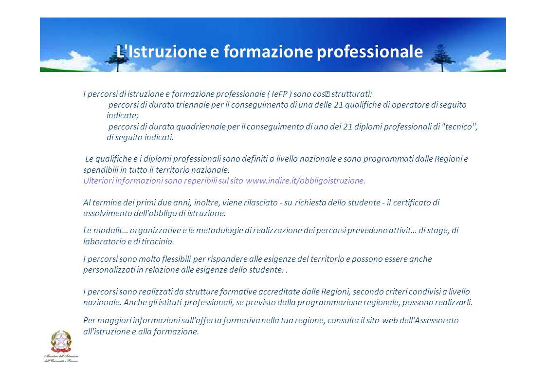 L Istruzione e formazione professionale I percorsi di istruzione e formazione professionale ( IeFP ) sono cos strutturati: percorsi di durata triennale per il conseguimento di una delle 21 qualifiche di operatore di seguito indicate; percorsi di durata quadriennale per il conseguimento di uno dei 21 diplomi professionali di tecnico , di seguito indicati.