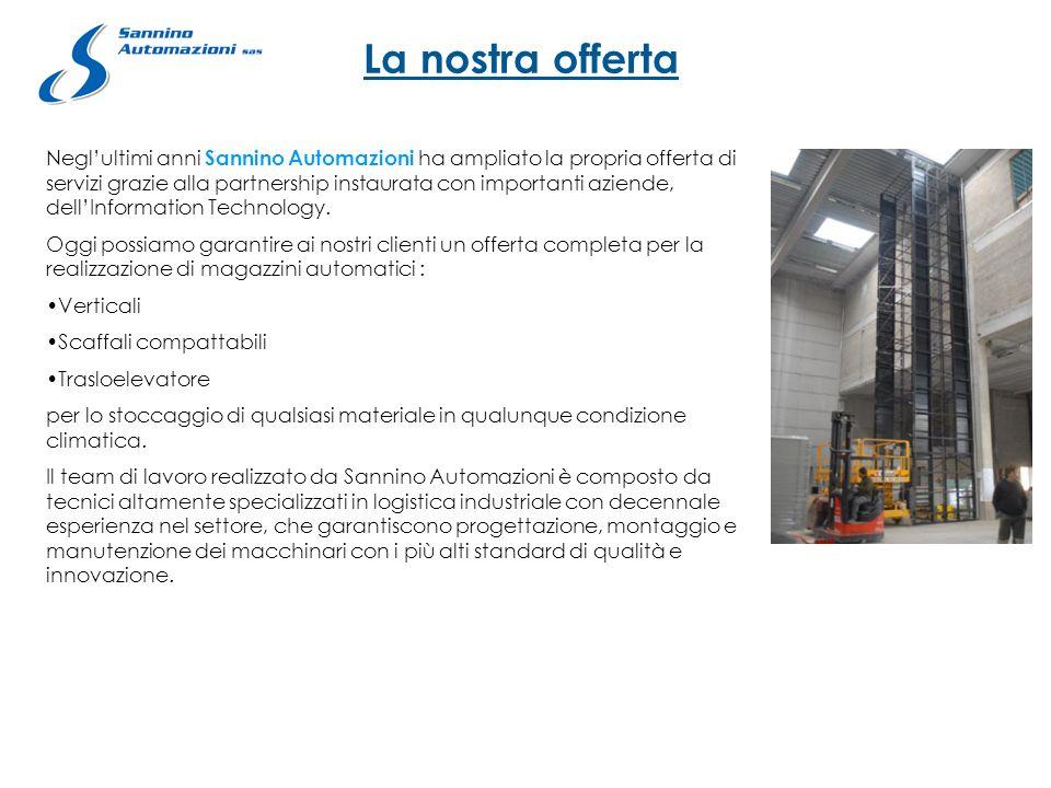 La nostra offerta Neglultimi anni Sannino Automazioni ha ampliato la propria offerta di servizi grazie alla partnership instaurata con importanti azie
