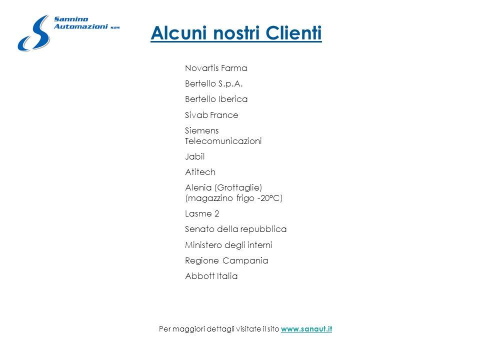 Alcuni nostri Clienti Novartis Farma Bertello S.p.A. Bertello Iberica Sivab France Siemens Telecomunicazioni Jabil Atitech Alenia (Grottaglie) (magazz
