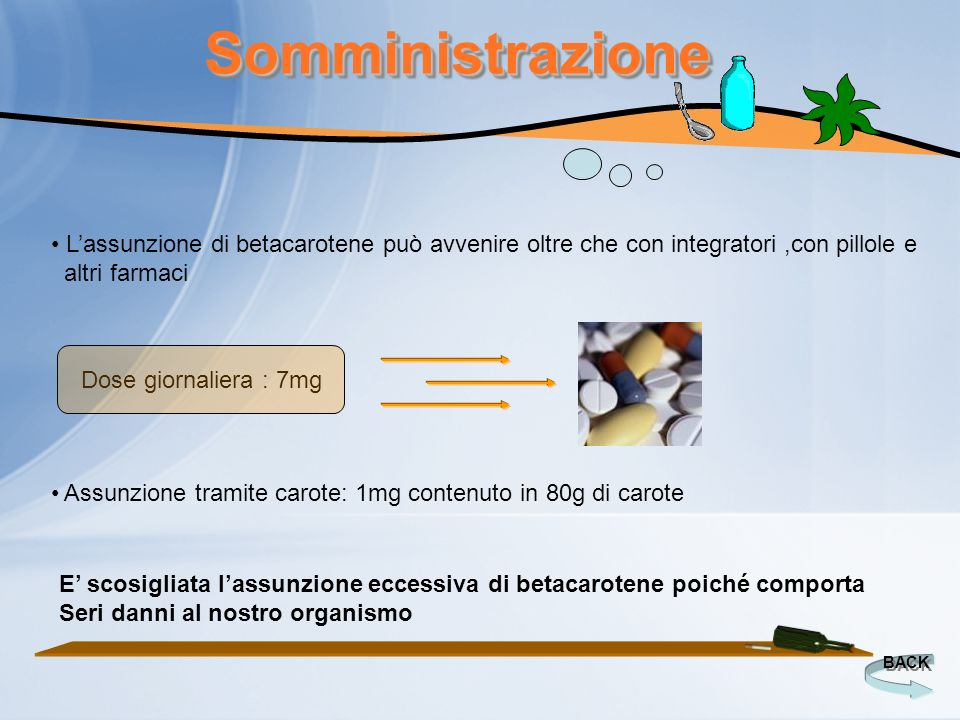 SomministrazioneSomministrazione BACK Lassunzione di betacarotene può avvenire oltre che con integratori,con pillole e altri farmaci Assunzione tramit