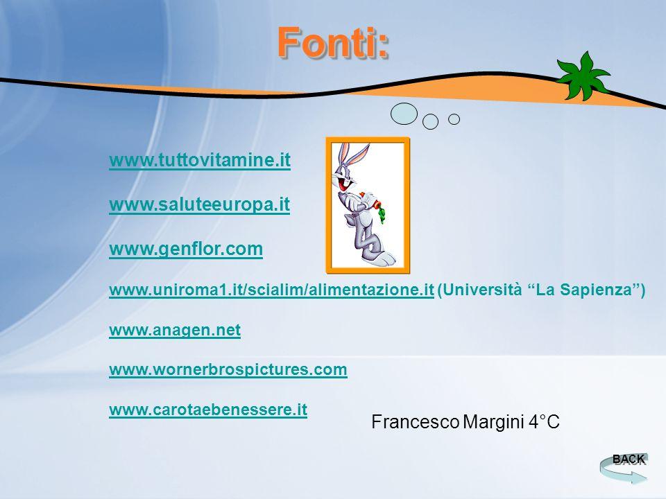 Fonti:Fonti: BACK www.tuttovitamine.it www.saluteeuropa.it www.genflor.com www.uniroma1.it/scialim/alimentazione.itwww.uniroma1.it/scialim/alimentazio