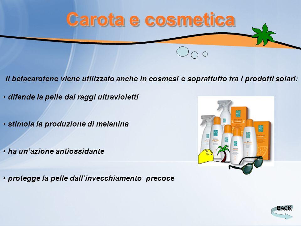 Carota e cosmetica BACK Il betacarotene viene utilizzato anche in cosmesi e soprattutto tra i prodotti solari: difende la pelle dai raggi ultraviolett