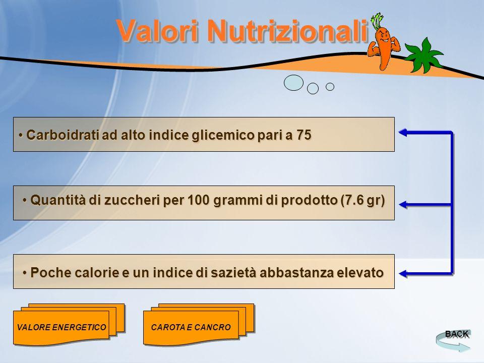 Valori Nutrizionali BACK Poche calorie e un indice di sazietà abbastanza elevato Poche calorie e un indice di sazietà abbastanza elevato Quantità di z