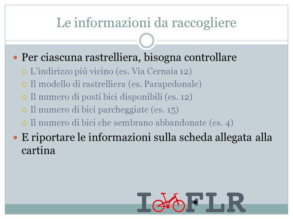 Le informazioni da raccogliere Per ciascuna rastrelliera, bisogna controllare Lindirizzo più vicino (es.