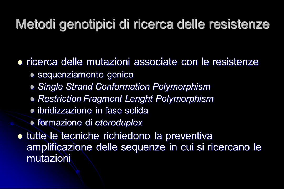 Metodi genotipici di ricerca delle resistenze ricerca delle mutazioni associate con le resistenze ricerca delle mutazioni associate con le resistenze