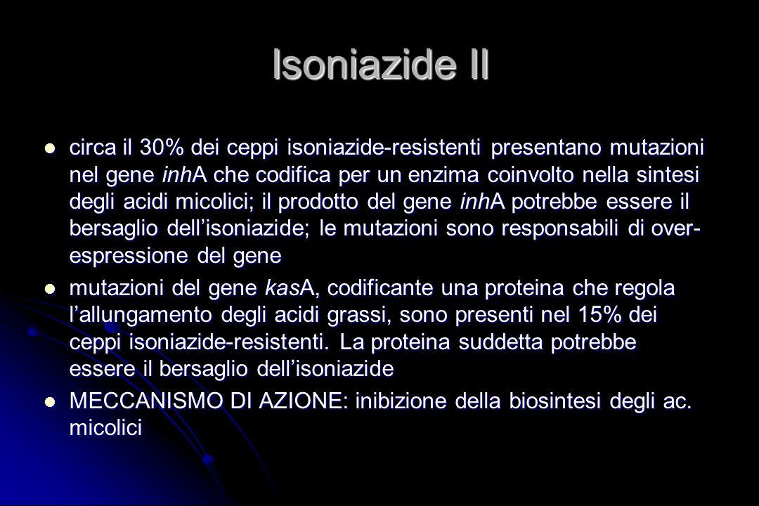 Isoniazide II circa il 30% dei ceppi isoniazide-resistenti presentano mutazioni nel gene inhA che codifica per un enzima coinvolto nella sintesi degli