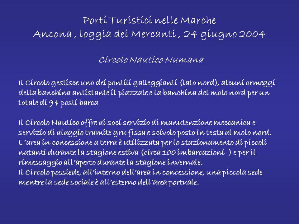 Porti Turistici nelle Marche Ancona, loggia dei Mercanti, 24 giugno 2004 Allinterno dellarea portuale svolgono la propria attività sei operatori: Cooperativa Ormeggiatori La Cooperativa gestisce tre pontili galleggianti, alcuni degli ormeggi della banchina principale e della banchina sud e tutti gli ormeggi alla boa, per un totale di 482 posti barca.