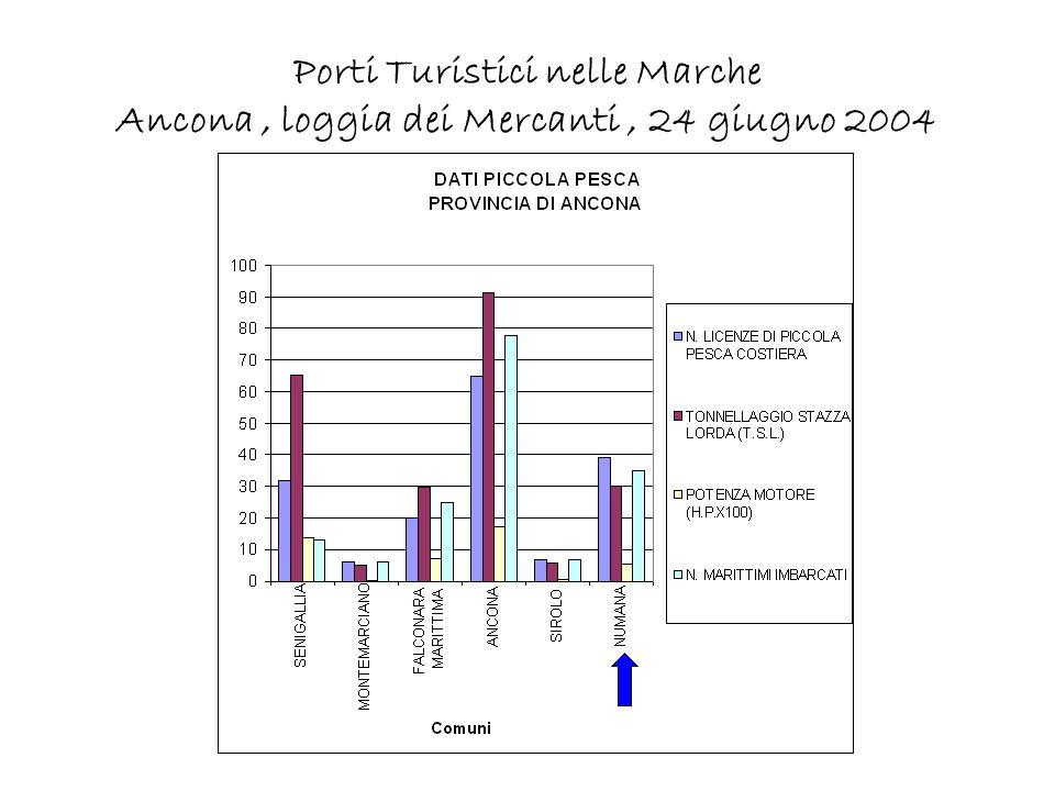 Porti Turistici nelle Marche Ancona, loggia dei Mercanti, 24 giugno 2004 Cooperativa pescatori le imbarcazioni della Cooperativa sono ormeggiate lungo parte della banchina antistante il piazzale e lungo un tratto del molo sud, in prossimità dellaccesso al porto.