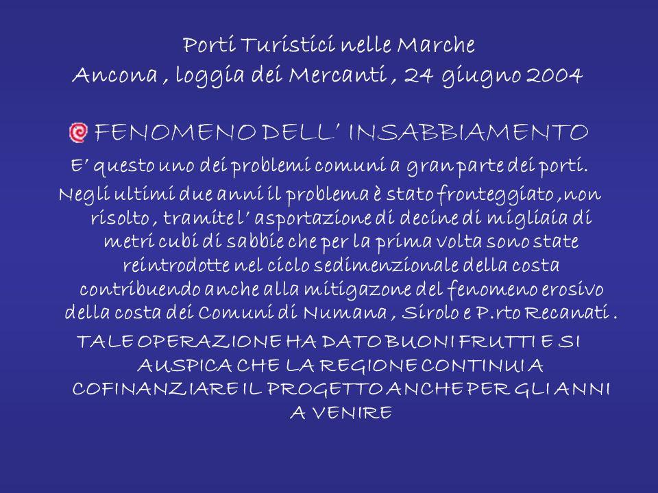 Porti Turistici nelle Marche Ancona, loggia dei Mercanti, 24 giugno 2004 LA SICUREZZA DELLA STRUTTURA PORTUALE ( Sicurezza passiva ) Questo argomento è di vitale importanza per uno sviluppo futuro del Porto di Numana.