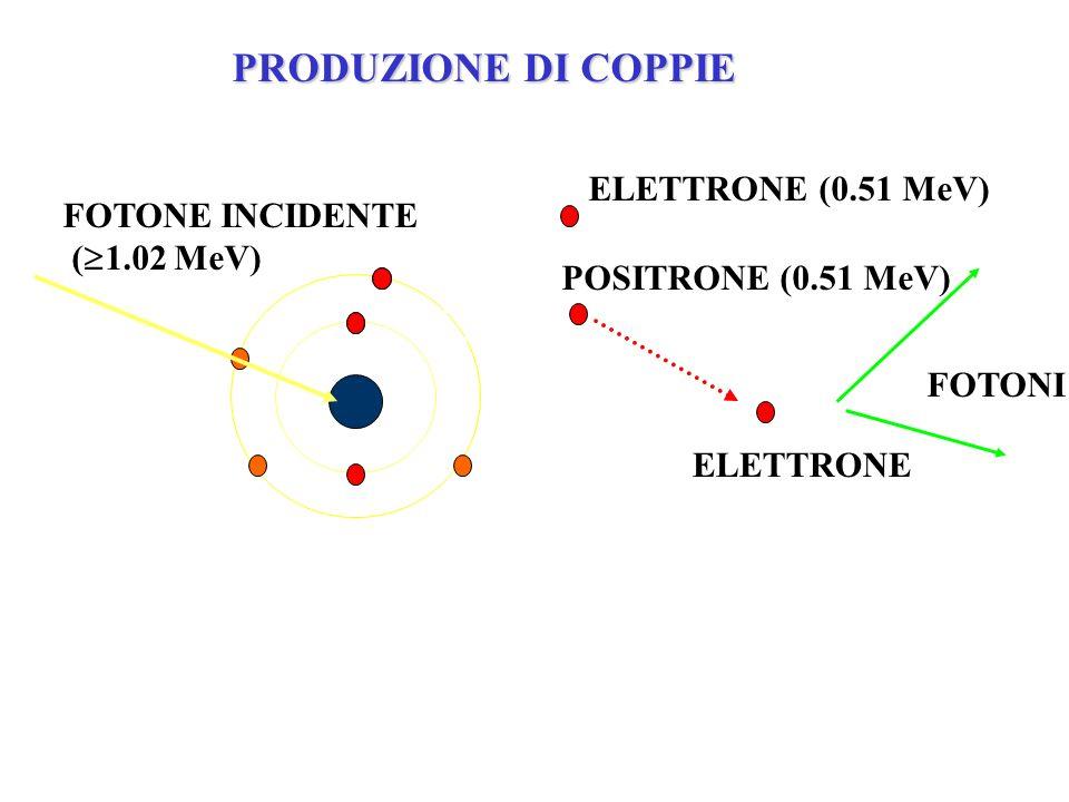 FOTONE INCIDENTE ( 1.02 MeV) ELETTRONE POSITRONE (0.51 MeV) ELETTRONE (0.51 MeV) FOTONI PRODUZIONE DI COPPIE
