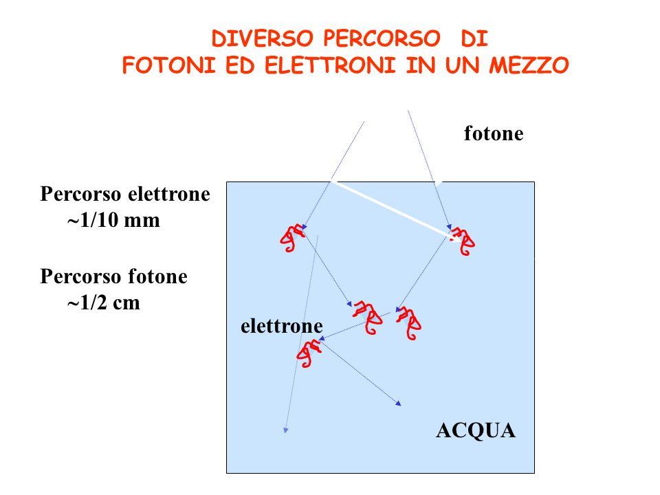 DIVERSO PERCORSO DI FOTONI ED ELETTRONI IN UN MEZZO fotone ACQUA elettrone Percorso elettrone 1/10 mm Percorso fotone 1/2 cm