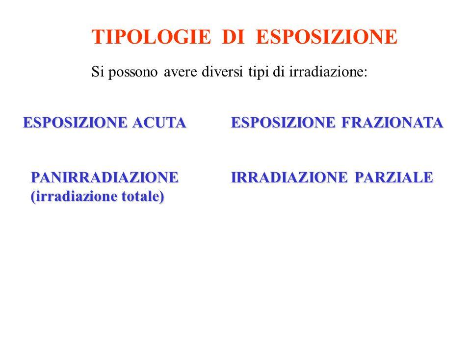 ESPOSIZIONE ACUTA ESPOSIZIONE FRAZIONATA PANIRRADIAZIONE (irradiazione totale) IRRADIAZIONE PARZIALE TIPOLOGIE DI ESPOSIZIONE Si possono avere diversi