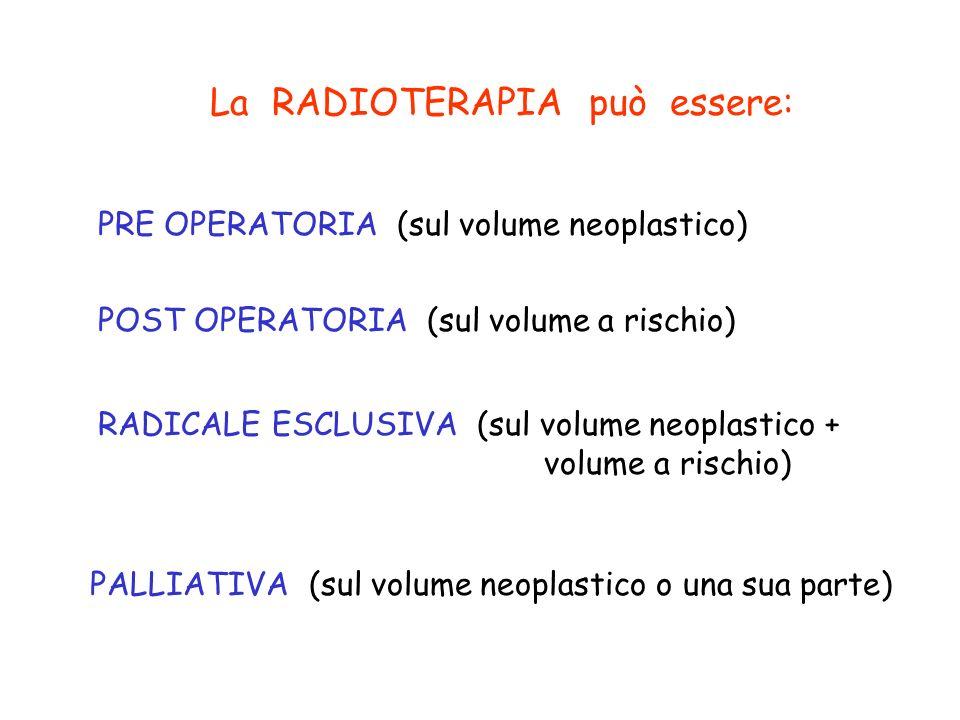 La RADIOTERAPIA può essere: PRE OPERATORIA (sul volume neoplastico) POST OPERATORIA (sul volume a rischio) RADICALE ESCLUSIVA (sul volume neoplastico