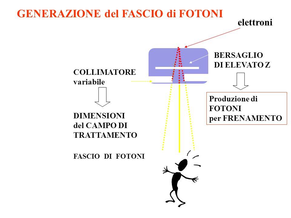 FASCIO DI FOTONI BERSAGLIO DI ELEVATO Z COLLIMATORE variabile elettroni Produzione di FOTONI per FRENAMENTO DIMENSIONI del CAMPO DI TRATTAMENTO GENERA