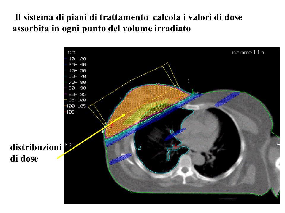 Il sistema di piani di trattamento calcola i valori di dose assorbita in ogni punto del volume irradiato distribuzioni di dose