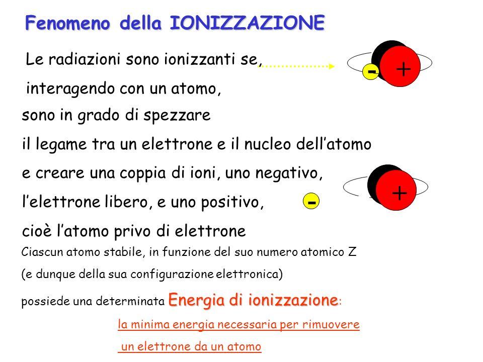 Fenomeno della IONIZZAZIONE + -+ Le radiazioni sono ionizzanti se, interagendo con un atomo, + + - sono in grado di spezzare il legame tra un elettron